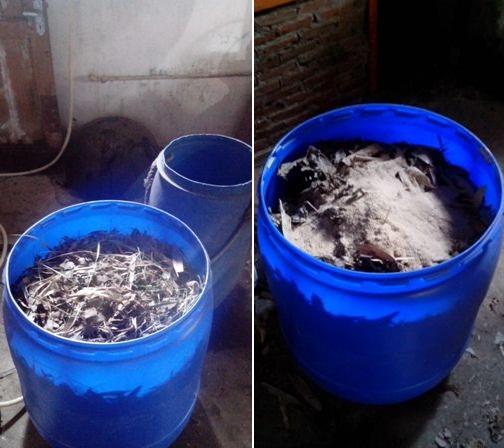 Bahan organik dimasukkan dalam ember.