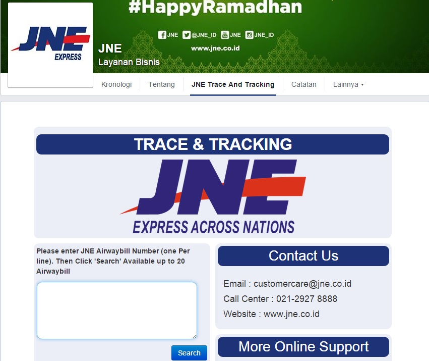 tracking number jne.co.id