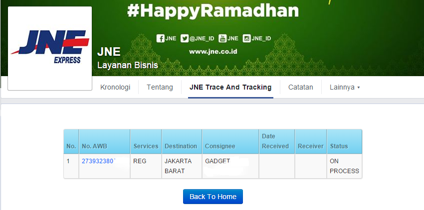Tracking Number JNE